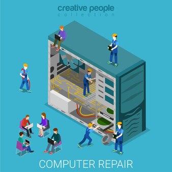 Service de réparation d'ordinateur de bureau isométrique plat
