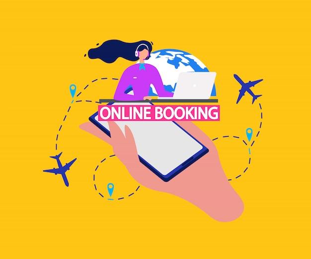 Service de réservation en ligne de billets d'avion vecteur plat