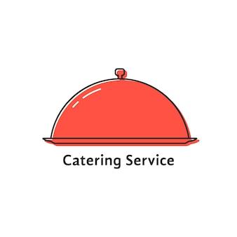 Service de restauration avec plat linéaire rouge. concept d'événement, gastronome savoureux, délicieux, serviteur, assiette, petit-déjeuner, présentation. plat, tendance, tendance, moderne, logotype, conception, vecteur, illustration, blanc, fond