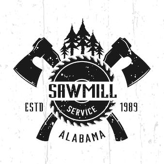 Service de scierie et emblème vectoriel monochrome de boiseries, insigne, étiquette ou logo dans un style vintage isolé sur fond avec des textures amovibles