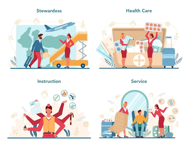 Service de soins de santé hôtesse de l'air au design plat