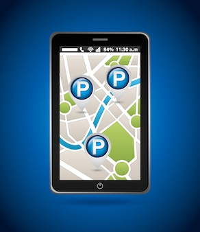 Service de stationnement, carte mobile
