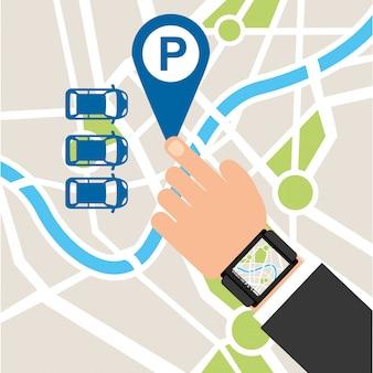 Service de stationnement, carte tactile