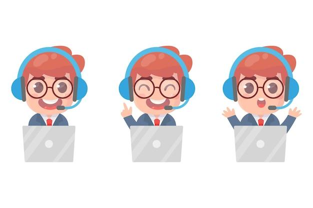 Service de support client avatars du centre d'appels