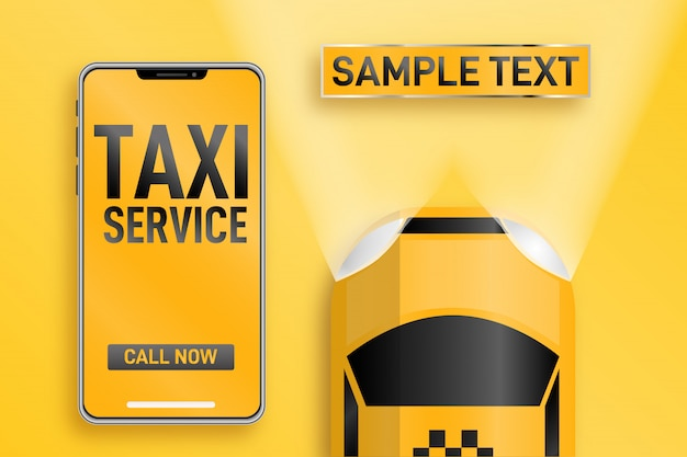 Service de taxi. application mobile en ligne commander un service de taxi illustration horizontale