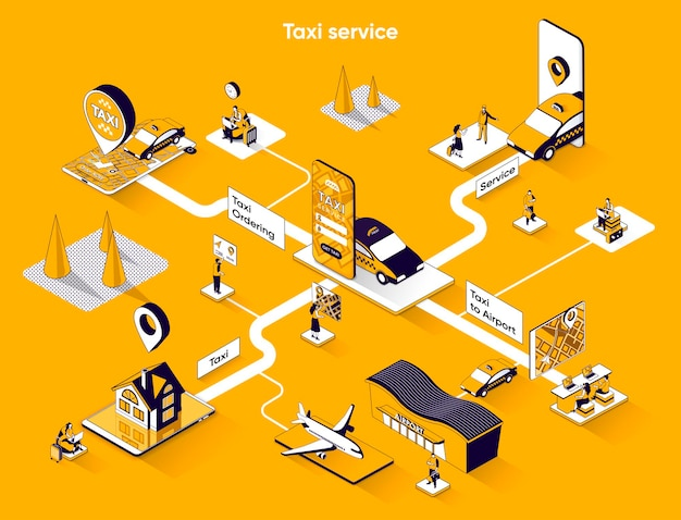 Service de taxi bannière web isométrique scène de concept isométrique plat