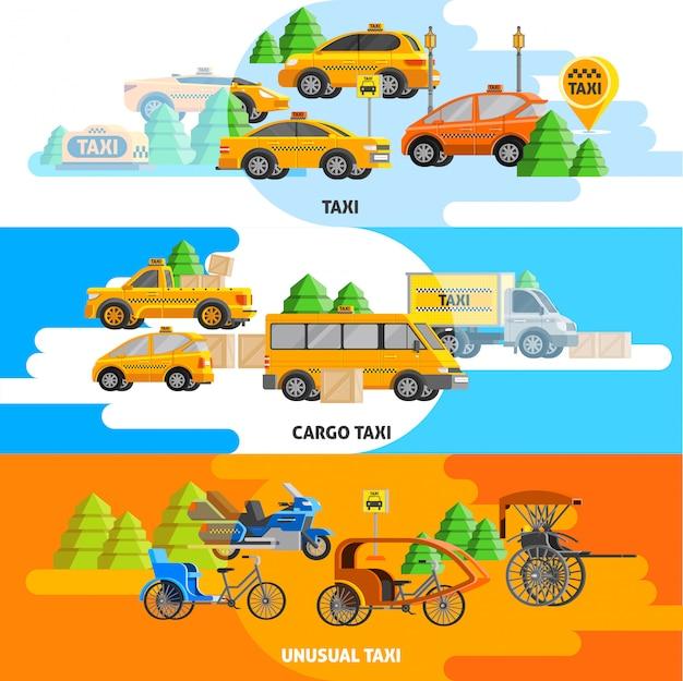 Service de taxi, bannières horizontales