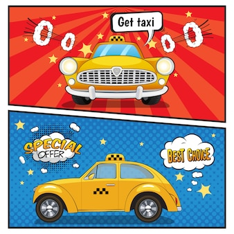 Service de taxi, bannières style bande dessinée