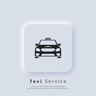 Service de taxi. icône de taxi. voiture, véhicule, chauffeur. vecteur. logo de taxi. icône de l'interface utilisateur. bouton web de l'interface utilisateur blanc neumorphic ui ux. neumorphisme