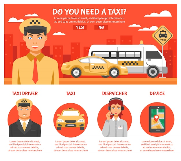 Service de taxi infographie