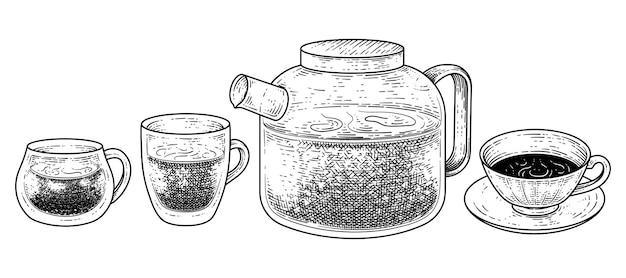 Service à thé de décoration vintage dessiné à la main. tasse, verre, tasse et théière croquis illustration vectorielle