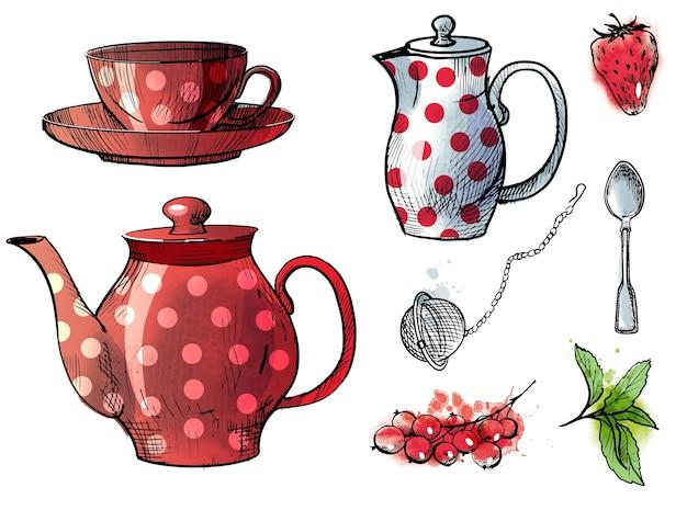 Service à thé dessiné sur le dessus et le côté et attributs du thé. croquis et illustration aquarelle