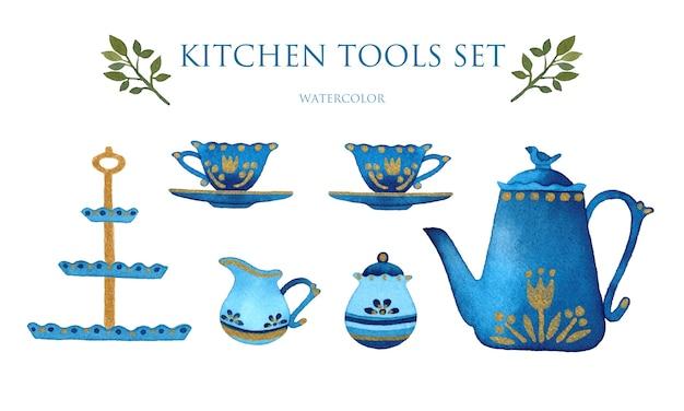 Service à thé dessiné à la main aquarelle set éléments isolés ustensiles de cuisine