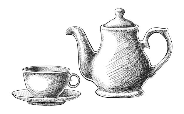 Service à thé dessiné à la main avec théière et une tasse isolé sur blanc