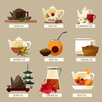 Service à thé avec différents thés du monde entier dans un style plat