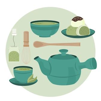 Service à thé japonais délicieux