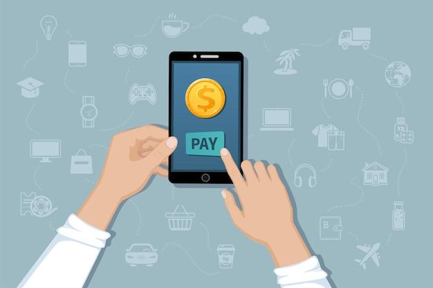 Service de transfert d'argent par paiement mobile en ligne payer des biens et des services par paiements sans numéraire