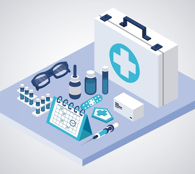 Service de vaccination avec des icônes isométriques de kit médical