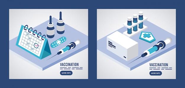Service de vaccination avec injection et calendrier isométrique