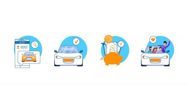 Service de voiture icon set.