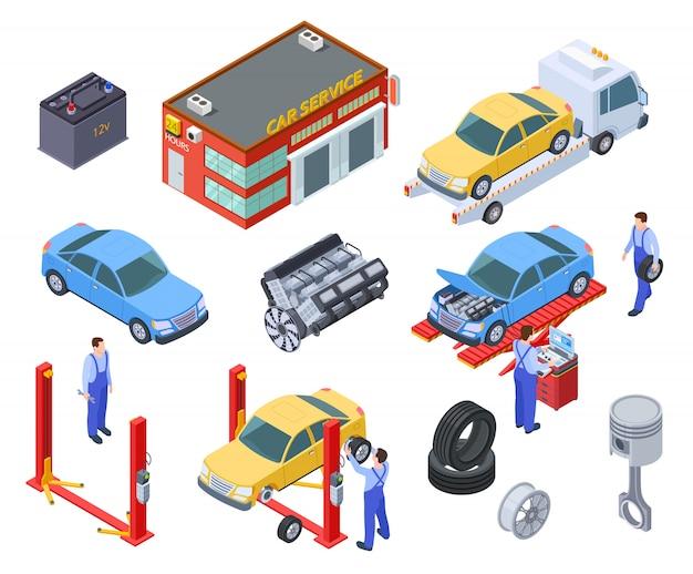 Service de voiture isométrique. les gens réparent les voitures avec des équipements industriels automobiles. les techniciens remplacent la pièce du véhicule, les roues. atelier
