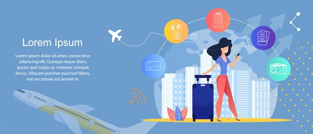 Service de voyage en ligne. agences de voyage en ligne. modèle