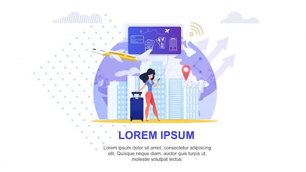 Service de voyage en ligne. planification de vacances de tourisme.