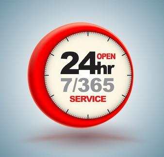 Services 24 heures sur 24 avec logo horloge