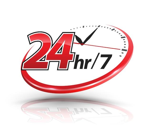 Services 24h avec échelle d'horloge