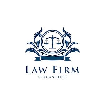 Services d'avocat de cabinet d'avocats, logo vintage de crête de luxe