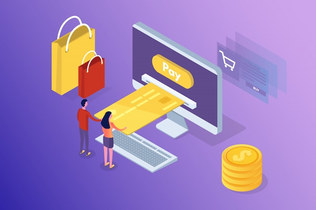 Services bancaires et achats en ligne, paiements mobiles, concept isométrique de transfert d'argent. illustration.
