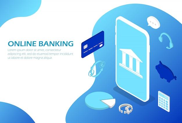 Services bancaires en ligne sur un smartphone. isométrique.