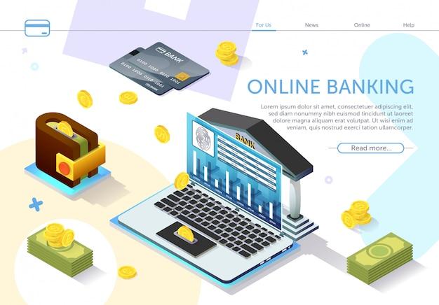 Services bancaires en ligne. types unités monétaires. vecteur.