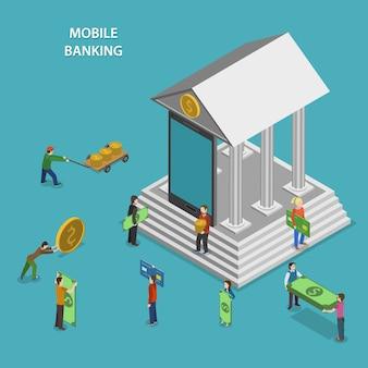 Services bancaires mobiles isométriques.