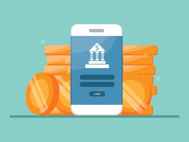 Services bancaires mobiles, mobile avec pile de pièces illustration plat