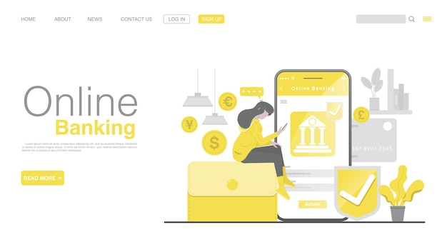 Services bancaires mobiles et paiement mobile sur la page de destination des applications mobiles