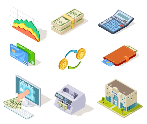 Services bancaires par internet, argent et chéquier, prêts et espèces, carte de crédit, symboles de finance d'entreprise