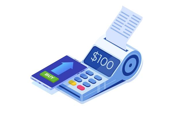 Services bancaires par internet, paiement mobile numérique, concept isométrique de terminal pos isométrique.