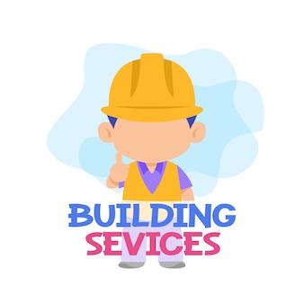 Services de bâtiment avec vecteur ouvrier