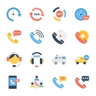 Services à la clientèle, ligne d'assistance et icônes de support client