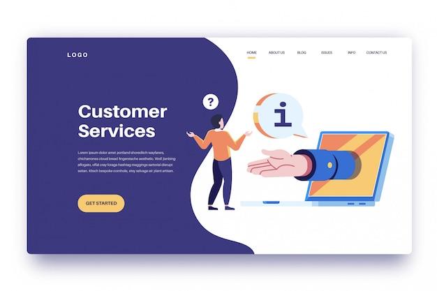 Services à la clientèle de la page de destination