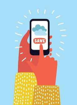Services cloud sur téléphone mobile tels que stockage, informatique, recherche, album photo, échange de données.