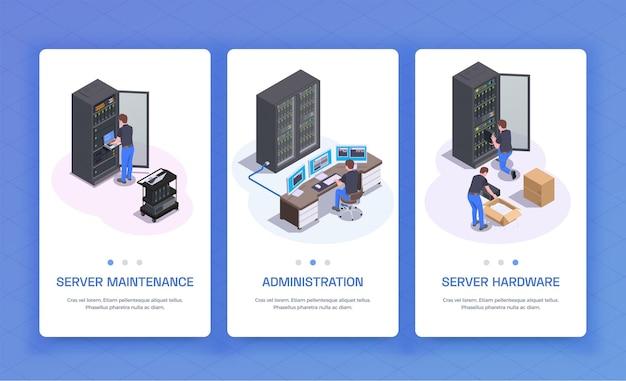 Services de communication de maintenance de serveur d'équipement d'administration de centre de données 3 bannières verticales isométriques bleu illustration isolée