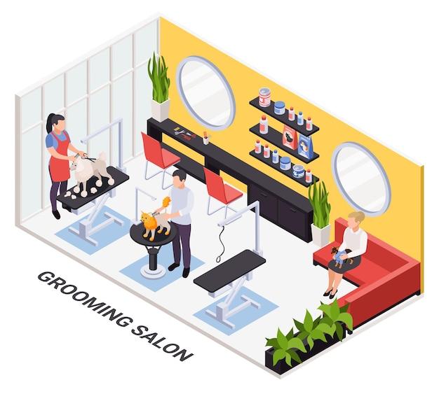 Services de coupe d'ongles de coupe pour animaux de compagnie réservation en ligne d'un intérieur de salon moderne isométrique avec des stylistes qui toilettent des chiens