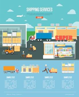 Services d'expédition et bannière de distribution au détail