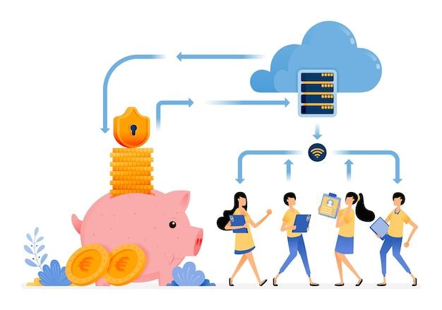 Services financiers de sécurité avec la technologie de base de données cloud.