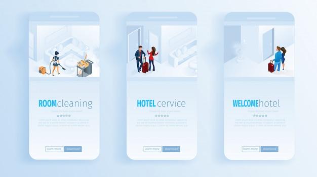 Services de l'hôtel nettoyage de la chambre bienvenue réseaux sociaux