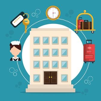 Services hôteliers mis en icônes