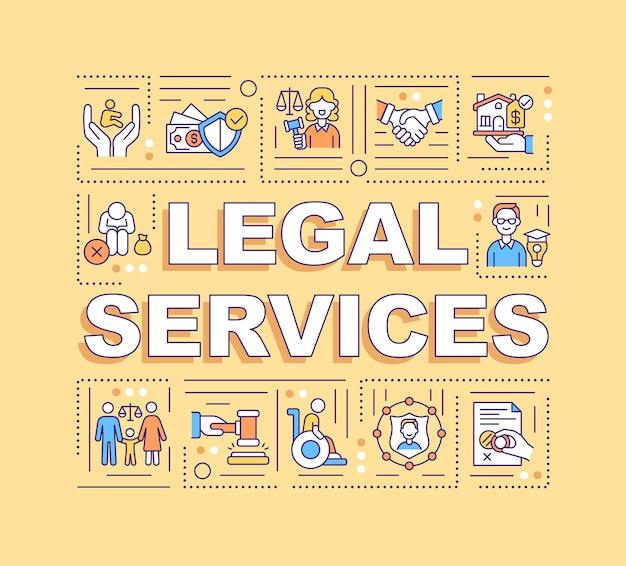 Services juridiques concepts de mots illustratios