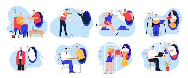 Services en ligne dans un ensemble de scènes de métaphore de téléportation futuriste. les gens étudient à la maison, livraison de nourriture, exercice de course, médecine, shopping, paiement, signature électronique